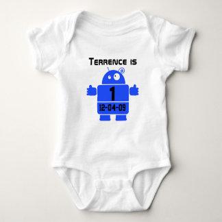 Camiseta adaptable del cumpleaños del robot mameluco de bebé