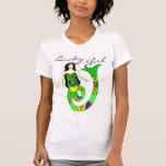 Camiseta afortunada de la sirena del chica