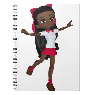 Camiseta afroamericana de la colegiala cuadernos