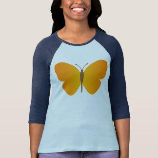 camiseta amarilla retra de la manga de la mariposa playera