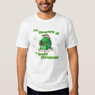 Camiseta ambiental del navidad verde poleras
