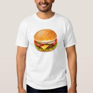 Camiseta americana del blanco de la hamburguesa polera