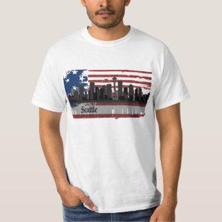Camiseta americana del paisaje urbano de las playeras