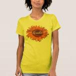 Camiseta anaranjada de la novia de la flor