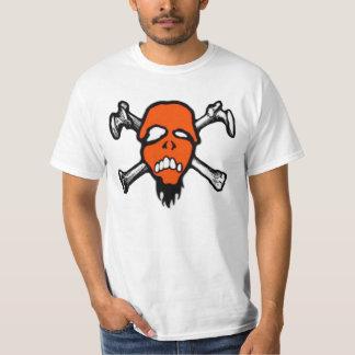 Camiseta anaranjada del valor del cráneo de playeras