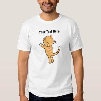 Camiseta anaranjada linda del abrazo del gato de remeras