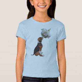 Camiseta animal linda del rosa blanco del perrito camisas