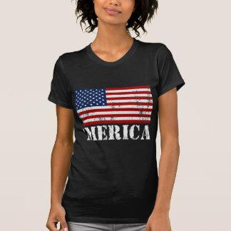 Camiseta apenada bandera de MERICA los E E U U