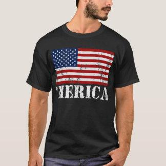 Camiseta apenada MERICA de la bandera de los