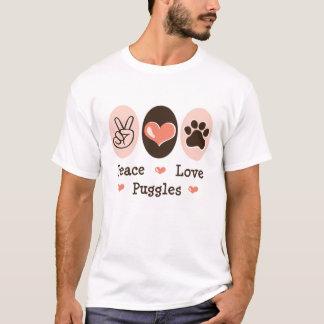Camiseta apenada Puggles del amor de la paz