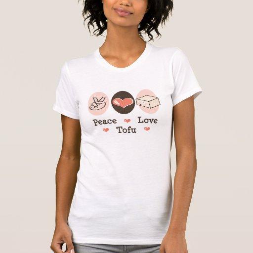 Camiseta apenada queso de soja del amor de la paz