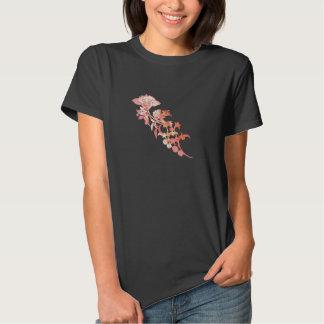 Camiseta asiática rosada de la puntilla de la flor camisas