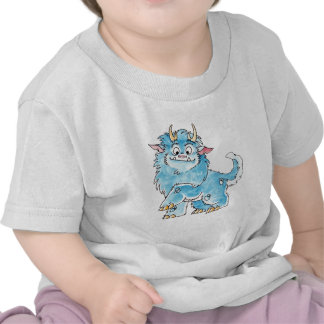 Camiseta azul amistosa del niño del monstruo
