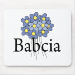Camiseta azul bonita de Babcia de la flor Tapetes De Ratones