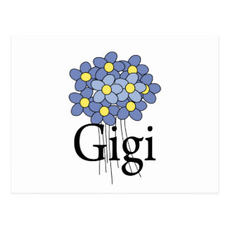 Camiseta azul bonita de Gigi de la flor Postales
