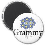 Camiseta azul bonita de Grammy de la flor Imán De Nevera