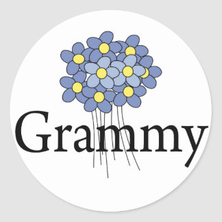 Camiseta azul bonita de Grammy de la flor Etiqueta Redonda