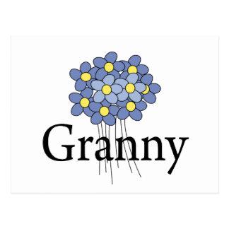 Camiseta azul bonita de la abuelita de la flor postales