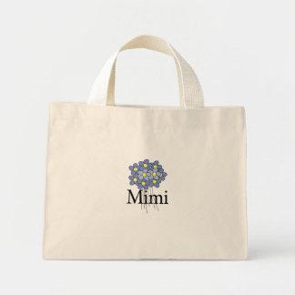 Camiseta azul bonita de la flor Mimi Bolsa