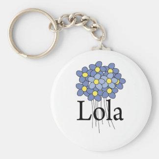 Camiseta azul bonita de Lola de la flor Llavero Personalizado