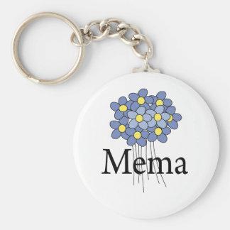 Camiseta azul bonita de MeMa de la flor Llavero