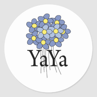 Camiseta azul bonita de YaYa de la flor Etiqueta Redonda