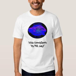 Camiseta azul de ComedySportz Cheezes del búfalo Remeras