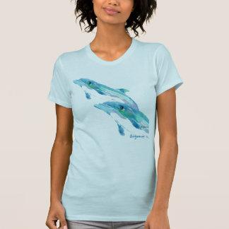 Camiseta azul de dos delfínes camisas