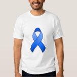 Camiseta azul de la cinta de la conciencia playeras