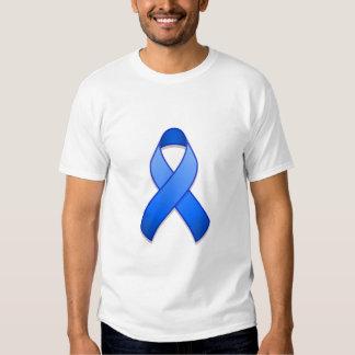 Camiseta azul de la cinta de la conciencia poleras