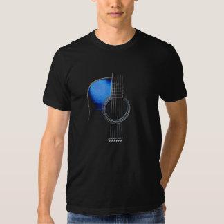 Camiseta azul de la guitarra acústica (véase la remeras