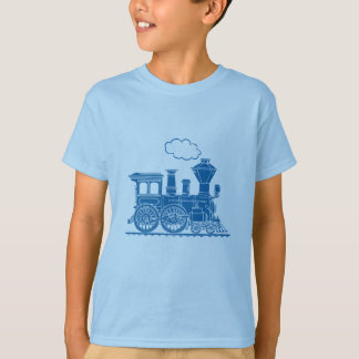 Camiseta azul de la luz del tren de la locomotora