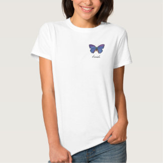 camiseta azul de la novia de la mariposa poleras