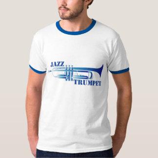 Camiseta azul de la trompeta del jazz playera