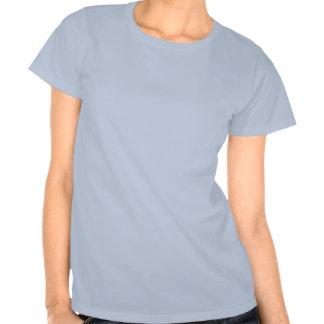 Camiseta azul de las señoras de las flores simples