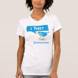 camiseta azul de las señoras del pájaro del gorjeo camisas