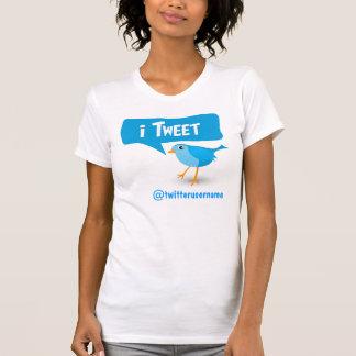 camiseta azul de las señoras del pájaro del gorjeo playera