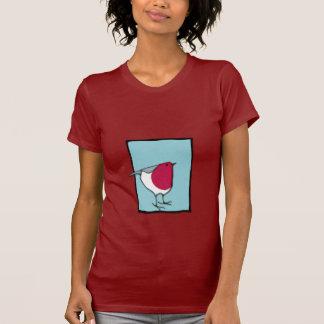 Camiseta azul de las señoras del pequeño petirrojo playera