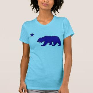 Camiseta azul de las señoras del símbolo del oso d