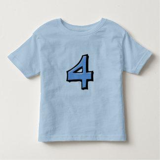 Camiseta azul de los niños de los números 4 tontos playera