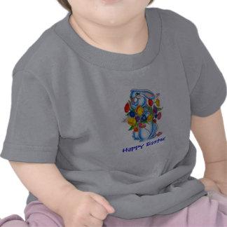 Camiseta azul de Pascua del conejito para los
