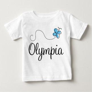 Camiseta azul del bebé de la mariposa de Olympia