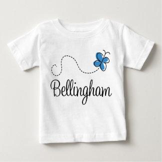 Camiseta azul del bebé de la mariposa de playeras