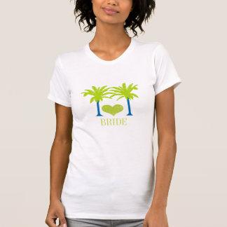 CAMISETA azul del boda de playa de la palmera de