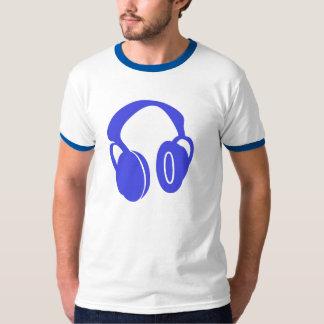 Camiseta azul del campanero del auricular playeras