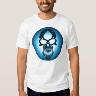 Camiseta azul del cráneo playera