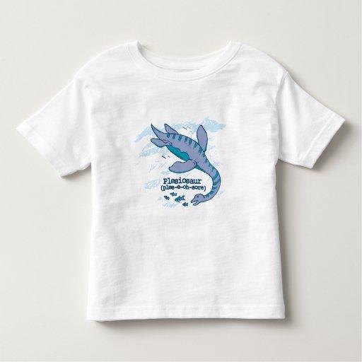 Camiseta azul del niño del dinosaurio del mar de camisas