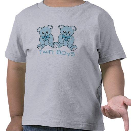 Camiseta azul del oso de los muchachos gemelos