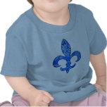 Camiseta azul del pañuelo de la flor de lis