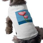 Camiseta azul del perro de las flores simples camisas de mascota